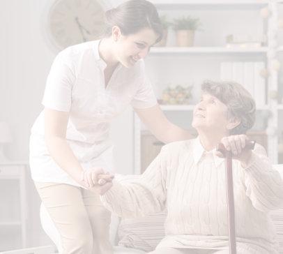 caregiver holiding her patient